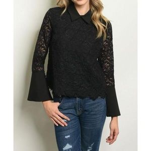 Ina Lace Collared Top NWT Retail $58